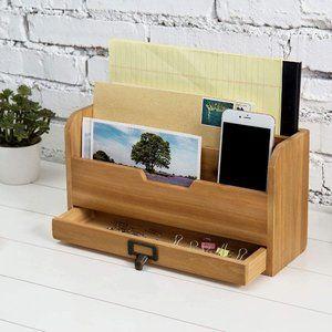 Other - NIB 3 Tier Rustic Wood Desk Organizer w/Drawer